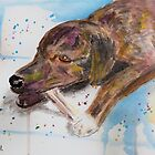 Loose Watercolor Portrait of a Dog Chewing Bone by ibadishi