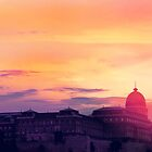 Sunset Over Buda Castle by Paula Bielnicka