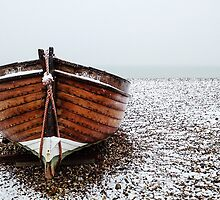 Snow on the beach by Liz Outhwaite