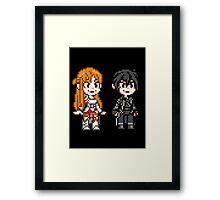 Sword Art Online - Asuna and Kirito - Pixel Art Characters Framed Print