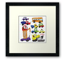 Child's hand draw cars.Funny colored cartoon Doodle Framed Print