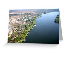 Aerial upstream from Victoria Falls, Africa Greeting Card