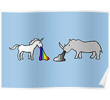 Unicorns Vomit Rainbows, Rhinos Vomit Greyscale Poster