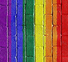 Rainbow Brick Wall V by BrianJoseph