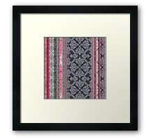 Burgundy, Pink, Navy & Grey Vintage Bohemian Wallpaper Framed Print