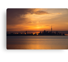 First Sun Rays - Toronto Skyline at Sunrise Canvas Print