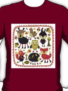 Woodland animals and birds T-Shirt
