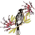 Honeyeater bird with grevillea flowers by Anna Lloyd