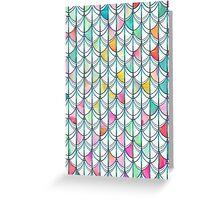 Pencil & Paint Fish Scale Cutout Pattern - white, teal, yellow & pink Greeting Card