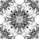 Elegance Black and White Kaleidoscope Pillow by red addiction