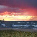Sunset on Lake Michigan at St Joseph North Pier - 2 by Debbie Mueller