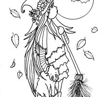 Color-Me, little Witch and Bats by Robin Pushe'e