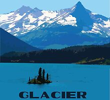 Glacier National Park WPA Style Travel Print Original Artwork by purple-moose