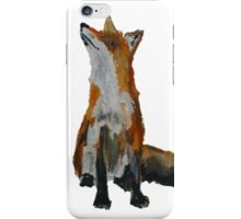 The Fox Woodland Wild Animal Contemporary Acrylic Painting White Edit iPhone Case/Skin