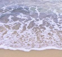 No office required written on sand, blue ocean water in background Sticker