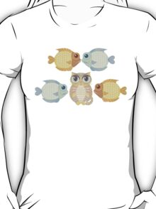 Cat With 4 Fish T-Shirt