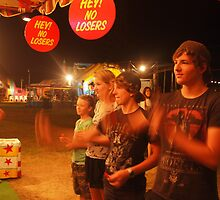 Hoping to win a prize - carnival - Yamba NSW Australia by Margaret Morgan (Watkins)