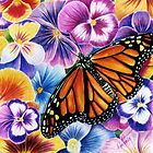 Pansies and Butterfly by Margaret Harris