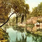 A digital painting of Old Reach, Thorpe, Norwich, England by Dennis Melling