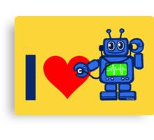I heart robot, robot listen to heart Canvas Print