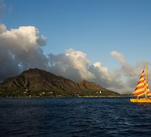 Cheerful Orange Catamaran and Diamond Head, Waikiki, Hawaii by Georgia Mizuleva