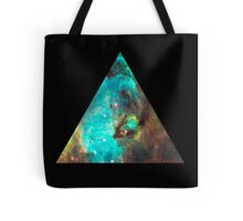 Green Galaxy Triangle Tote Bag