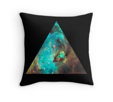 Green Galaxy Triangle Throw Pillow
