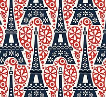 Blue, White, and Red Eiffel Tower Desgin by roxanna19