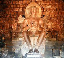 Sitting Buddha.  Prambanan Temple.  Java,  Indonesia. by Keith Thomson