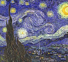 'Starry Night' by Vincent Van Gogh (Reproduction) by Roz Abellera Art