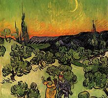 'Landscape with Couple Walking and Crescent Moon' by Vincent Van Gogh (Reproduction) by Roz Abellera Art