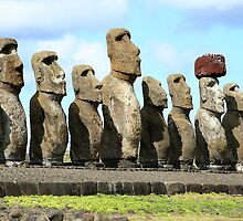 Line of Moai statues, Easter Island by Maggie Hegarty