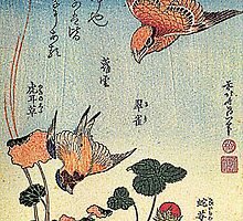 'Wild Strawberries and Birds' by Katsushika Hokusai (Reproduction)  by Roz Abellera Art