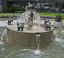 Happy horses fountain, Ljubljana, Slovenia by Margaret  Hyde
