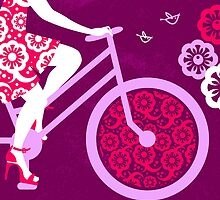 Silhouette of beautiful girl on bicycle  by pimlena