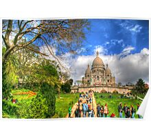 Sacre Couer with greenery .. HDR Poster