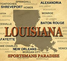 Louisiana State Pride Map Silhouette  by KWJphotoart