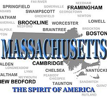Massachusetts State Pride Map Silhouette  by KWJphotoart