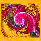 Red Swirl on Yellow - pillow & tote design by Dennis Melling