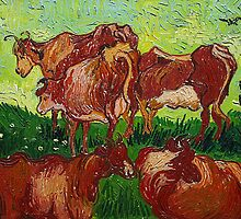 'Les Vaches' by Vincent Van Gogh (Reproduction) by Roz Abellera Art Gallery