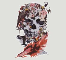 The Skull, flower, Crow, honey birds and butterfly by threesecond