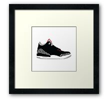 AIR JORDAN III (3) BLACK Framed Print