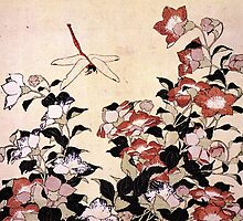 'Chinese Bell Flower and Dragonfly' by Katsushika Hokusai (Reproduction) by Roz Abellera Art