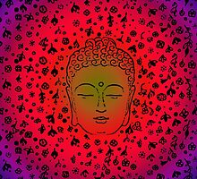 Buddha with print Pink Purple Gradient by roseglasses
