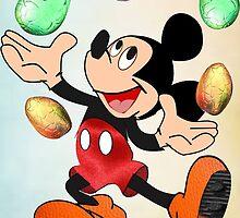Mickey juggles Easter Eggs by Ann12art