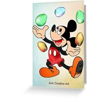 Mickey juggles Easter Eggs Greeting Card