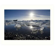 Melting ice in Jokulsarlon glacier lagoon, Iceland Art Print