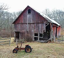 Old Barn and Tractor by Gilda Axelrod