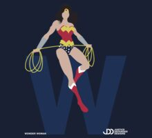 Wonder Woman - Superhero Minimalist Alphabet Clothing by justicedefender