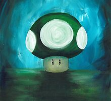 One Up! Green Mushroom by Katie Clark